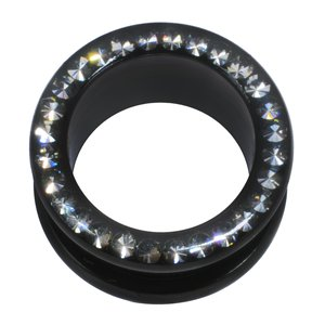 Plug Surgical Steel 316L Black PVD-coating Swarovski crystal Epoxy
