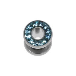 Plug Surgical Steel 316L Swarovski crystal Epoxy