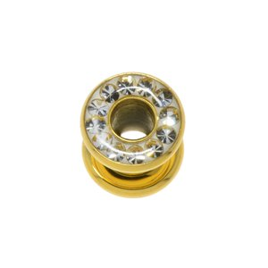 Plug Surgical Steel 316L Gold-plated Swarovski crystal Epoxy