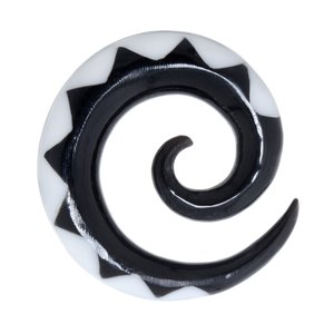 Plug Buffalo horn synthetic resin Spiral Tribal_pattern Triangle