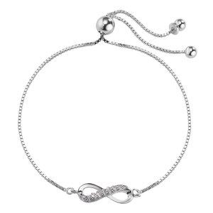 Silber-Armkettchen Silber 925 Zirkonia Ewig Schlaufe Endlos