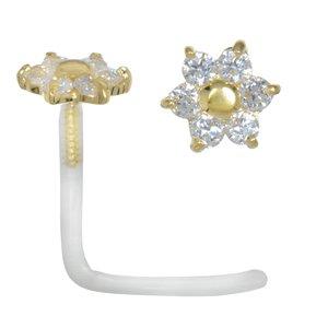 Piercing de nariz Bioplast Oro de 18K Cristal Flor