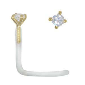 Nose piercing Bioplast 18K Gold Crystal