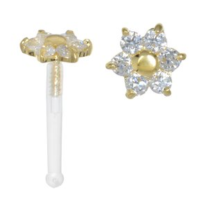 Nose piercing Bioplast 18K Gold Crystal Flower