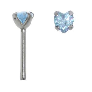 Nose piercing Surgical Steel 316L zirconia Heart Love