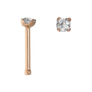 Nose piercing Surgical Steel 316L PVD-coating (gold color) Crystal