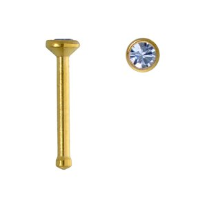 Nose piercing Surgical Steel 316L PVD-coating (gold color) Swarovski crystal