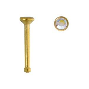 Nose piercing Surgical Steel 316L PVD-coating (gold color) Swarovski crystal