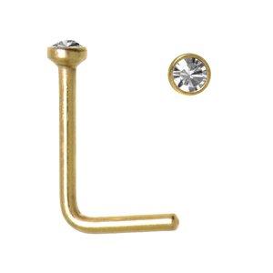 Nasenpiercing Chirurgenstahl 316L PVD Beschichtung (goldfarbig) Swarovski Kristall
