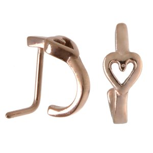 Nose piercing Surgical Steel 316L PVD-coating (gold color) Heart Love