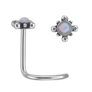 Piercing per naso Metallo chirurgico 316L Synthetic opal Fiore