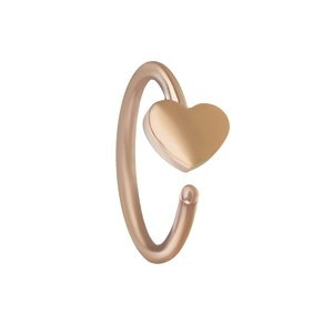 Nose ring Surgical Steel 316L PVD-coating (gold color) Heart Love