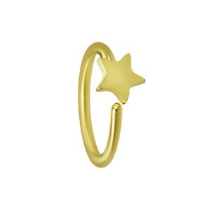 Nose ring Surgical Steel 316L PVD-coating (gold color) Star