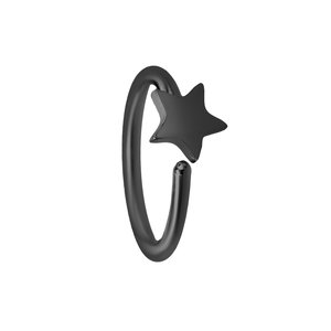 Nose ring Surgical Steel 316L Black PVD-coating Star