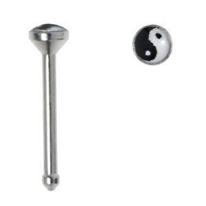 Nose piercing Surgical Steel 316L Glass Yin_Yang Taijitu