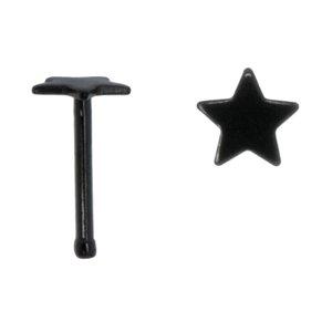 Nasenpiercing Chirurgenstahl 316L PVD Beschichtung (schwarz) Stern