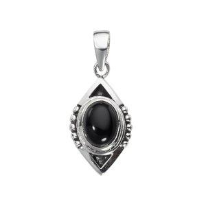Colgante de piedra Plata 925 Onix negro Dibujo_Tribal Diseño_Tribal
