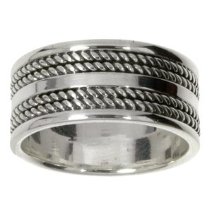 Ring Silver 925 Stripes Grooves Rills Tribal_pattern