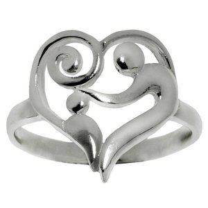 Fingerring Silver 925 Heart Love Spiral