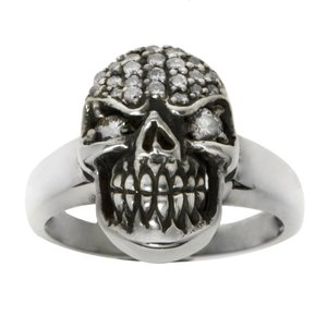 Ring Silver 925 zirconia Skull Skeleton