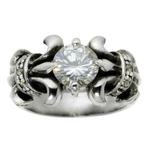 Ring Silver 925 zirconia Flower Tribal_pattern Leaf Plant_pattern
