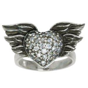 Fingerring Silber 925 Zirkonia Herz Liebe Flügel