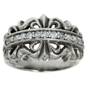 Ring Silver 925 zirconia Flower Tribal_pattern