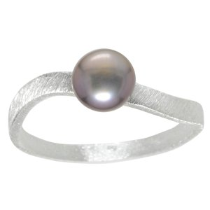Fingerring Silver 925 Fresh water pearl Wave