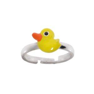 Kids ring Silver 925 Enamel Duck Duckling