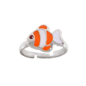 Kids ring Silver 925 Crystal Enamel Fish
