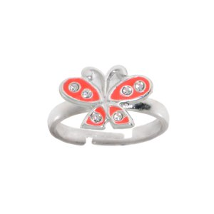 Kids ring Silver 925 Crystal Enamel Butterfly