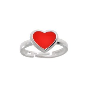 Kids ring Silver 925 Enamel Heart Love