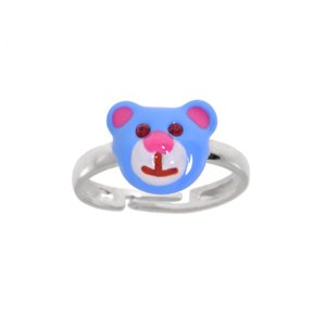 Kinder Ring Zilver 925 Kristal Emaille Beer Beertje Teddy