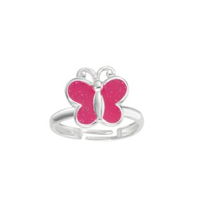 Kids ring Silver 925 Enamel Butterfly