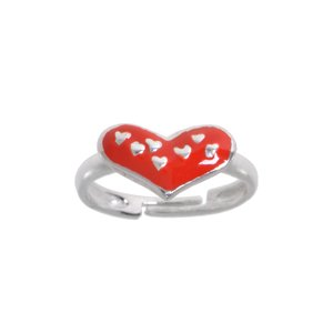 Kids ring Silver 925 Enamel Heart Love