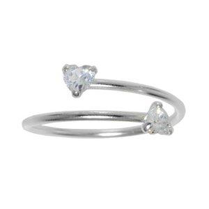 Kinder Ring Silber 925 Kristall Spirale Herz Liebe