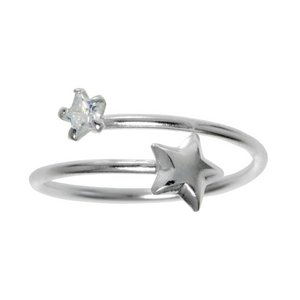 Kids ring Silver 925 Crystal Star Spiral