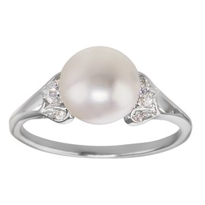 Fingerring Silver 925 Fresh water pearl Crystal