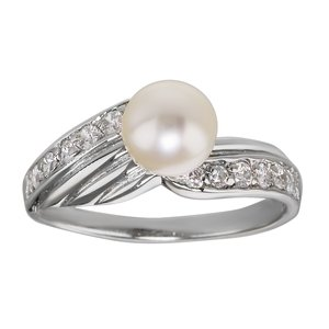 Fingerring Silver 925 Fresh water pearl Crystal Stripes Grooves Rills Wings
