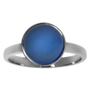 Anello Argento 925 Calcedonio acqua blu