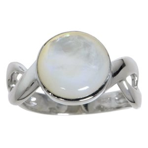 Silver ring Silver 925 rhodanized Mother of Pearl Eternal Loop Eternity