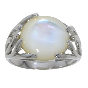 Silver ring Silver 925 rhodanized Mother of Pearl