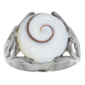 Bague argent Argent 925 rhodié Coquillage Shiva Eye Spirale