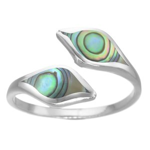 Silver ring Silver 925 Abalone Stripes Grooves Rills