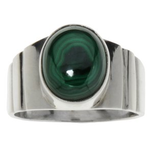 Ring Silver 925 Malachite Stripes Grooves Rills