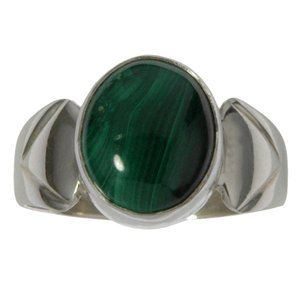 Ring Silver 925 Malachite Stripes Grooves Rills Triangle