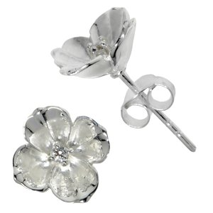 Earrings Silver 925 Crystal Flower