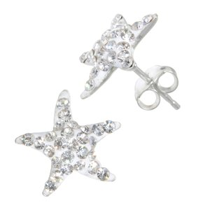 Kids earrings Silver 925 Crystal Starfish Star