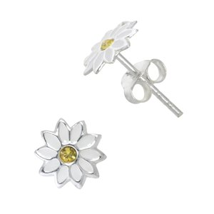 Kids earrings Silver 925 Crystal Enamel Flower