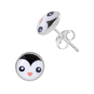 Kids earrings Silver 925 Epoxy Penguin
